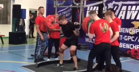 Sickening Footage Shows Moment Russian Powerlifter's Leg Snaps In THREE Places Under 250KG Weight