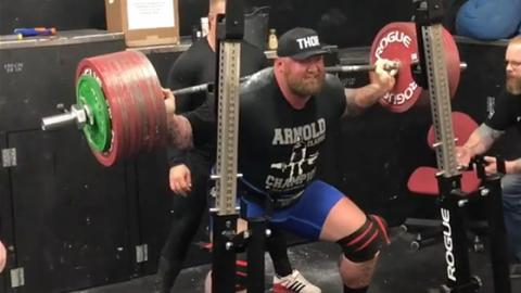 The Mountain Practices With 445kg Squats Ahead Of Thor's Powerlifting Challenge