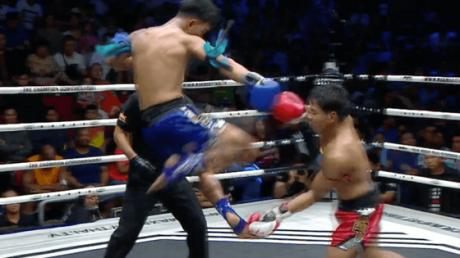 The Perfect Flying Head Kick Makes For A Monstrous KO In This Muay Thai Match