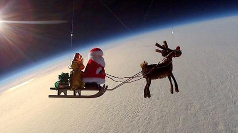 Santa Claus Takes To The Stratosphere To Practice For The Big Night