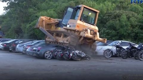 Look Away Car Fans, Philippines President Rodrigo Duterte Just Had 68 Luxury Cars Bulldozed