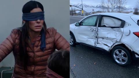 This 17-Year-Old Tried Driving Blindfolded For The Bird Box Challenge... It Did Not End Well