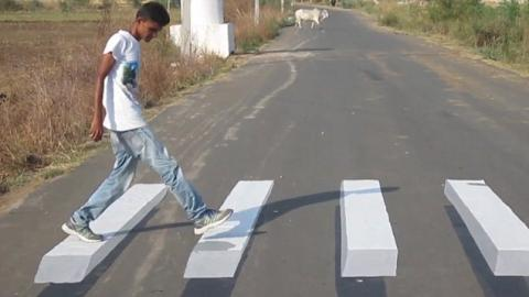 This Clever Zebra Crossing In New Delhi Replaces Speed Bumps As It 'Floats' Over The Road