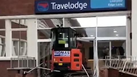 The Bizarre Moment A Digger Driver Destroys Travelodge Hotel In Shocking Rampage