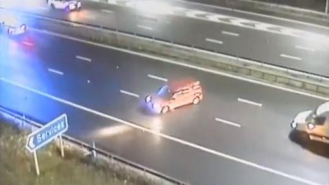Terrifying Moment A Drunk Driver Collides With Police After Hurling Along The Wrong Side Of The Motorway