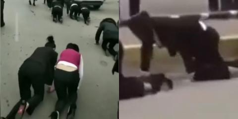 Employees Forced To Crawl On All Fours As Degrading Punishment For Not Hitting Targets In Bizarre Footage