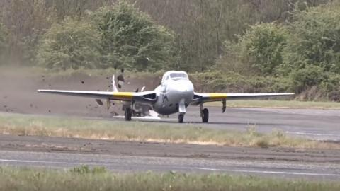 This WWII Fighter Jet DESTROYS Runway During Take Off