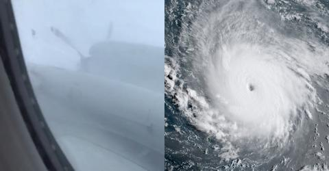 Watch This Frightening Video Filmed Aboard A Plane Flying Through Hurricane Irma