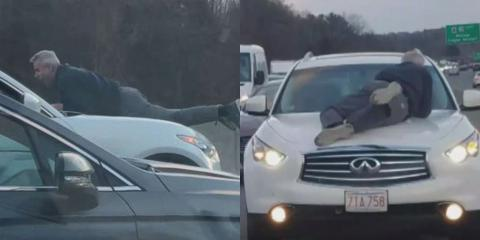 Shocking Moment Man Clings Onto 70mph Speeding Car As Road Rage Escalates