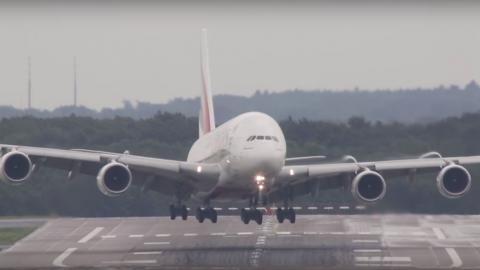 Moment An Airbus A380 Is Almost Swept Off The Runway By Strong Winds