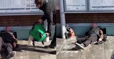 Disgusting Moment Train Staff Are Filmed Throwing Dirty Mop Water on Sleeping Homeless Man