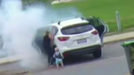 A Woman Saves Her Son Two Seconds Before Their Car Explodes