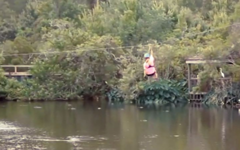 An alligator tries to eat her alive as zip lines over a lake
