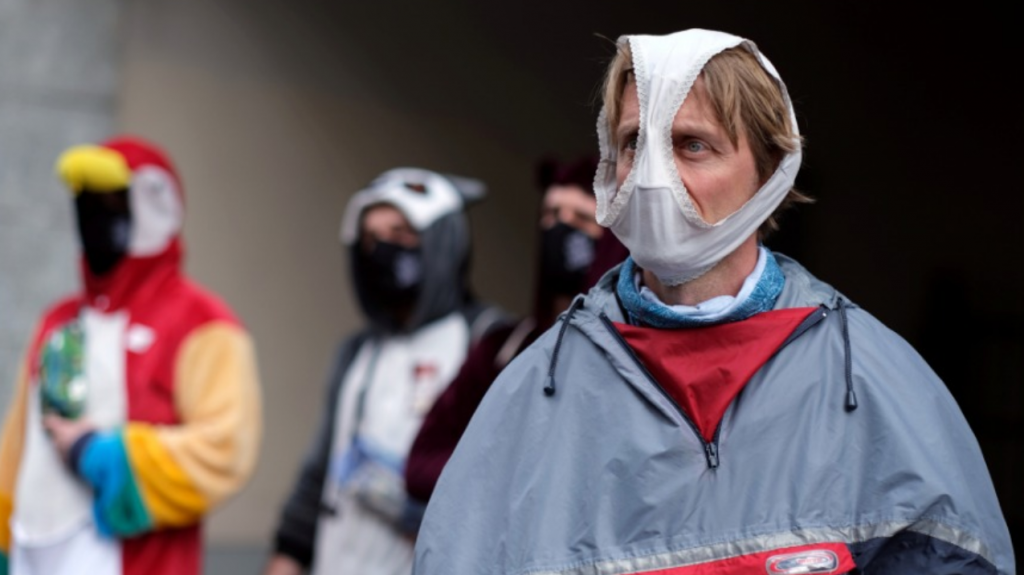 No mask? This is the weirdest protective gear people have worn