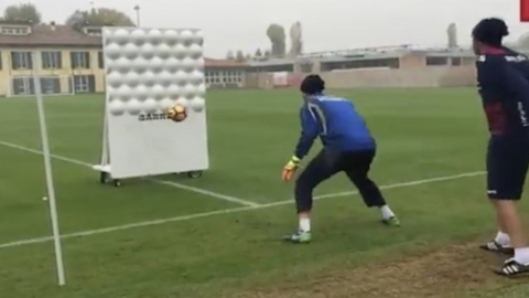 Watch this crazy footage of the Bologna keepers training!