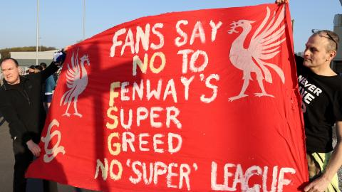 Football supporters protest new European Super League