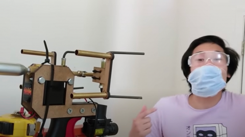One man has invented a gun that shoots masks onto people's faces