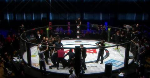 Russian MMA event turns into chaos as fans rush the ring and attack the referee