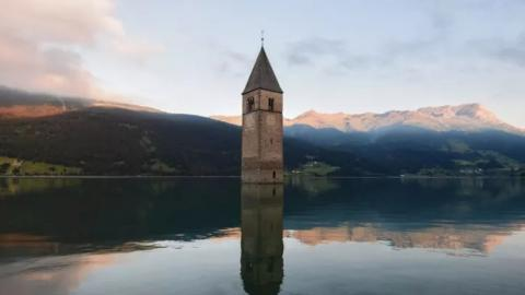 Italian village emerges from lake after being submerged for 70 years