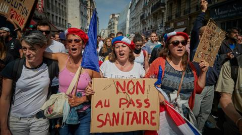 French vaccination centre ransacked to protest new 'health pass'