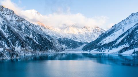 Incredible 'Ice volcano' appears in Kazhakstan