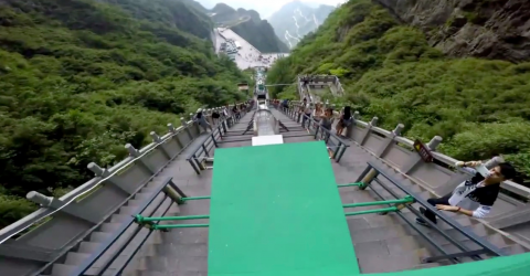 This Is The World's Largest Downhill Parkour Course
