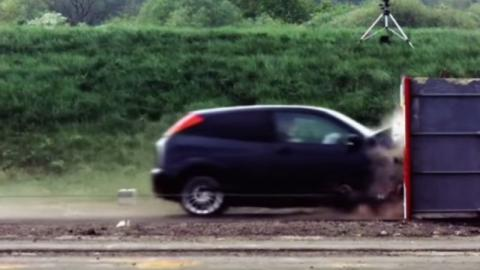 Here's what happens to a Ford Focus when it's crashed into a wall at more than 120 mph
