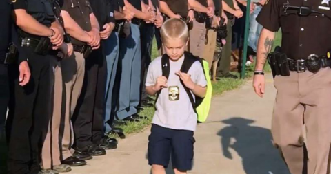 After this young boy lost his father, these police officers paid the perfect tribute
