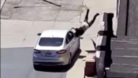 Man immediately regrets throwing rocks into traffic after driver seeks revenge