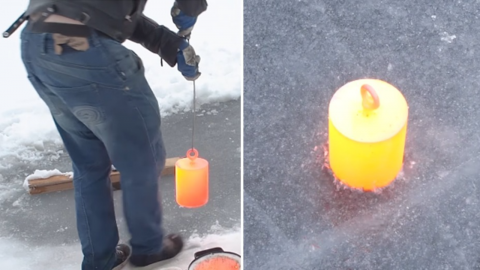 What happens when placing a molten weight on a frozen lake?
