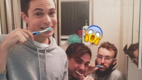 These Three Lads 'Forgot' About One Very Embarrassing Object In Their Selfie...