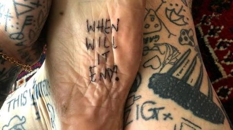 A man has given himself a tattoo every day during lockdown