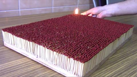 This video of 6000 matches set alight is absolutely mesmerising