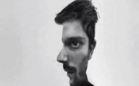 Optical illusion: Is the man in this optical illusion facing you or in profile?