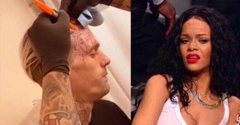 Aaron Carter Just Got A Tattoo Of Rihanna On His Face